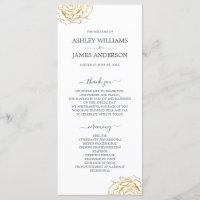 Chic Script Floral Gold Rose Simple Wedding Program