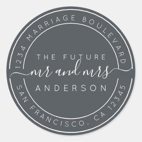 Chic Script Future Mr Mrs Wedding Return Address Classic Round Sticker