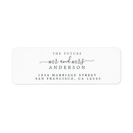 Chic Script Future Mr Mrs Wedding Return Address Label