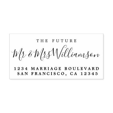 Chic Script Future Mr Mrs Wedding Return Address Rubber Stamp