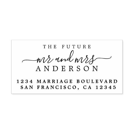 Chic Script Future Mr Mrs Wedding Return Address Rubber Stamp