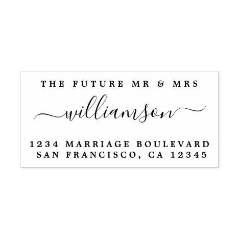 Chic Script Future Mr Mrs Wedding Return Address Self-inking Stamp