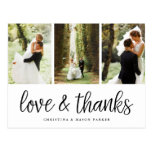 Chic Script | Multi Wedding Photo Thank You Postcard<br><div class='desc'>A modern photo thank you postcard designed to accommodate three of your favorite wedding photos aligned side by side. &quot;Love and thanks&quot; appears along the bottom in black handwritten style script. Personalize with your names and/or wedding date beneath. Postcards reverse to show your return address with ample space for recipient...</div>