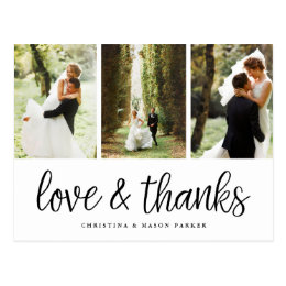 Chic Script Multi Wedding Photo Thank You Postcard
