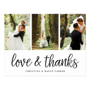Wedding thank you cards zazzle chic script multi wedding photo thank you postcard junglespirit Image collections