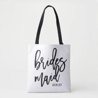 Chic Script Personalized Bridesmaid Tote Bag