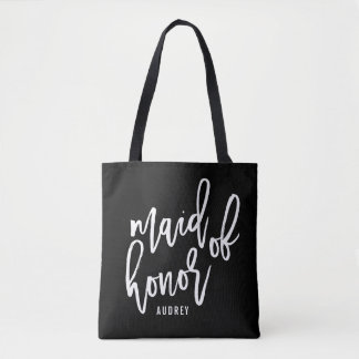 Chic Script Personalized Maid of Honor Tote Bag