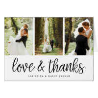 Chic Script | Wedding Photo Collage Thank You Card