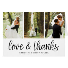 Chic Script   Wedding Photo Collage Thank You Card
