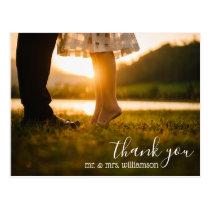 chic script wedding thank you photo postcard