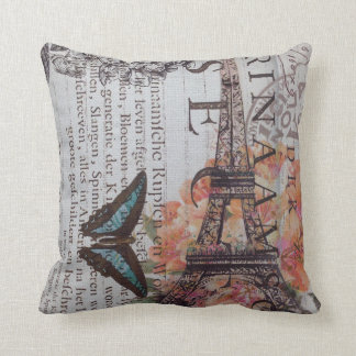 Chic Scripts french butterfly Paris Eiffel Tower Throw Pillow