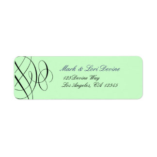 Chic scroll designer labels with mint green
