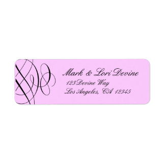 Chic scroll designer labels with rosey pink