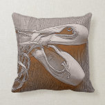 Chic Sepia Pastel Pink Ballet Shoes Throw Pillows