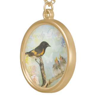 """Chic Shabby Design """"3 Birds """" Gold Plated Necklace"""