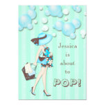 "Chic She's About to Pop Boys Baby Shower 5"" X 7"" Invitation Card"