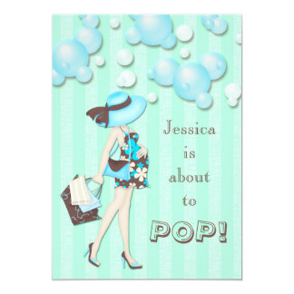 Chic She's About to Pop Boys Baby Shower 5x7 Paper Invitation Card