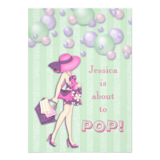 Chic She's About to Pop Girl Baby Shower Personalized Invitation