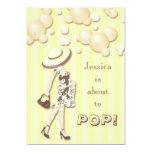 "Chic She's About to Pop Neutral Baby Shower 5"" X 7"" Invitation Card"