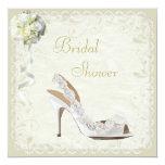 "Chic Shoe & Bouquet Bridal Shower 5.25"" Square Invitation Card"