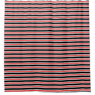 CHIC SHOWER CURTAIN_12 RED/BLACK/WHITE STRIPES SHOWER CURTAIN
