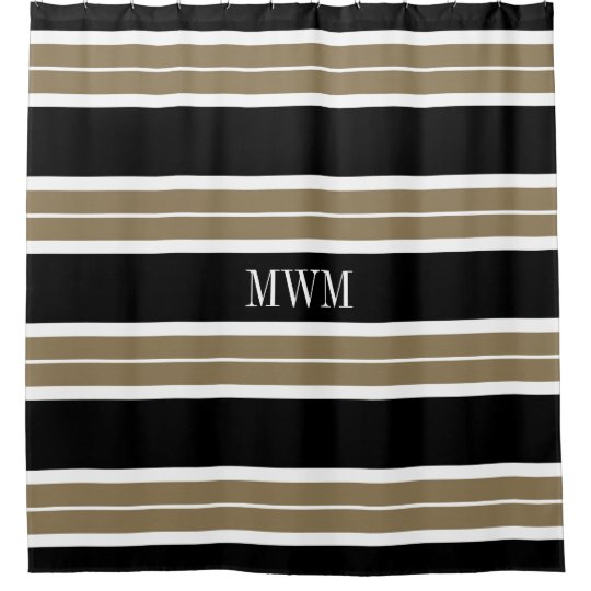 CHIC SHOWER CURTAIN 620 TAN BLACK WHITE STRIPES