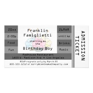 Chic Silver Admission Ticket Birthday Invite