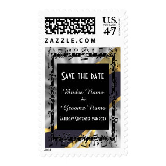 Chic silver and black save the date postage