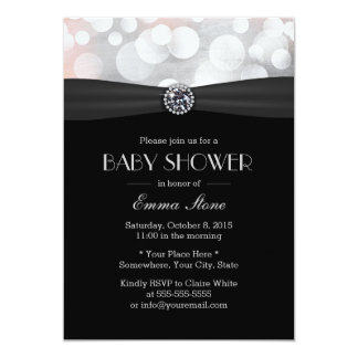 Chic Silver & Black Diamond Baby Shower Card