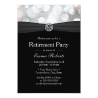 Chic Silver & Black Diamond Retirement Party Card