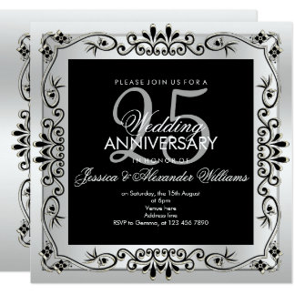 Chic Silver Decorative Framed 25th Anniversary Card