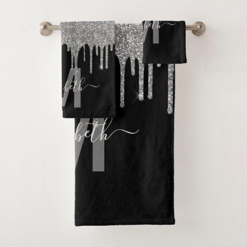 Chic Silver Dripping Glitter Monogram Name Bath Towel Set