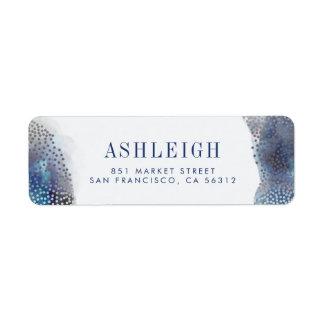 Chic Silver Foil Confetti & Watercolor Wedding Label