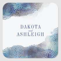 Chic Silver Foil Confetti & Watercolor Wedding Square Sticker