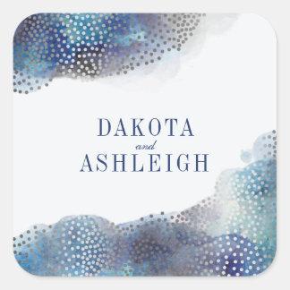 Chic Silver Foil Confetti & Watercolor Wedding Square Sticker