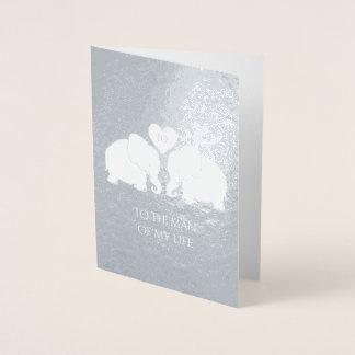 Chic Silver Foil Heart Elephants 10th Anniversary Foil Card