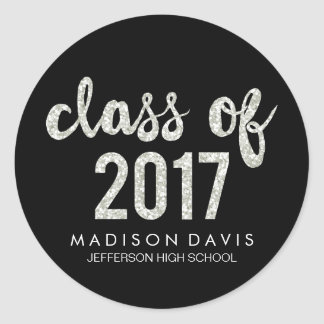 Chic Silver Glitter | Class of 2017 Graduation Classic Round Sticker