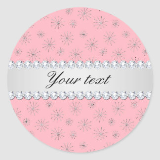 Chic Silver Glitter Snowflakes Pink Classic Round Sticker