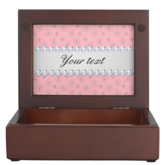 Chic Silver Glitter Snowflakes Pink Memory Box