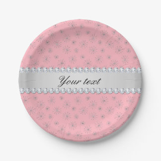 Chic Silver Glitter Snowflakes Pink Paper Plate