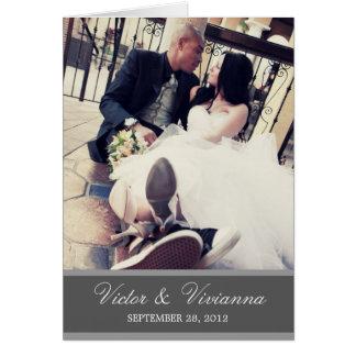 CHIC SILVER GRATITUDE | FOLDED WEDDING THANK YOU GREETING CARD