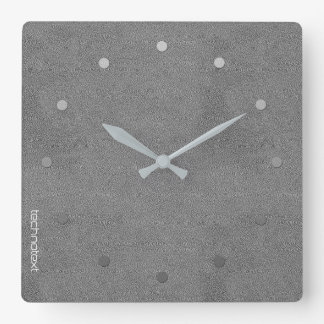 Chic Silver Grey Leather Look Add Logo Square Wall Clock