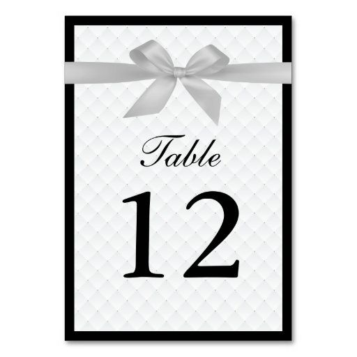 Chic silver ribbon black border table numbers table card for Table th border