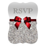 Chic Silver Sequins Diamond Red Bow Wedding RSVP Card
