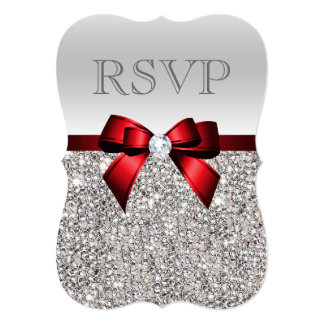 Chic Silver Sequins Diamond Red Bow Wedding RSVP Invitation