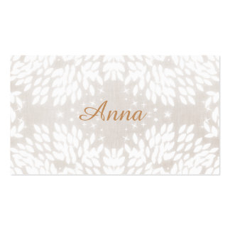 Chic Simple Name White Leaves FAUX Beige Linen Business Card