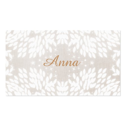 Chic Simple Name White Leaves FAUX Beige Linen Business Card Template
