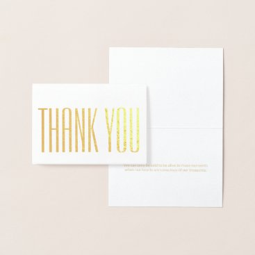 Chic Simple Thank You Minimalist Elegant Gold Real Foil Card