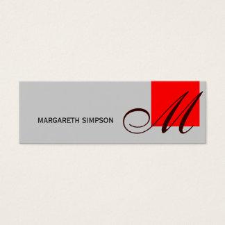 Chic Skinny Monogram Grey Red Business Card