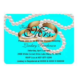 Chic Sky Blue Rings With Pearls Bridal Invite